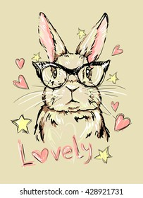 Hand Drawn Vector Illustration of Bunny.