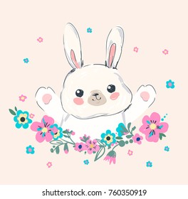 Hand Drawn Vector Illustration of Bunny with flowers, print design, children print on t-shirt girl.