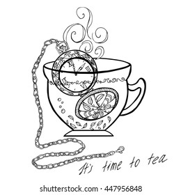 Hand drawn vector illustration. With cap and vintage watch. Sketch style. Black and white graphics.