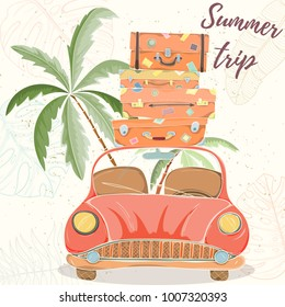 Hand drawn vector illustration of car with bags and suitcases. Retro card of summer travel elements on light background can be used for invitation, banner template, flyer, sale, website, cover.