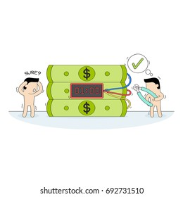 Hand drawn vector illustration for Cartoon Business concept, Small people hand holding wire cutter to cut Dollar bomb. Deactivation of dangerous timed bomb, the right choice.ai
