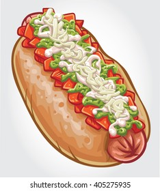 Hand drawn vector illustration of a Chilean Hot Dog, known as a Completo with chopped tomatoes, mayonnaise, avocado sauce and sauerkraut.