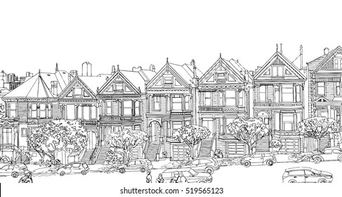 Hand drawn vector illustration of city San Francisco landscape. Architectural ensemble of similar Victorian houses - Painted Ladies. Part of street old town Isolated on white