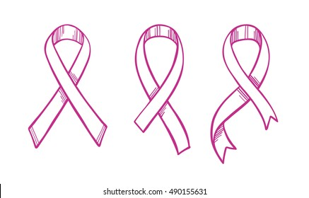 Hand drawn vector illustration - Collection of pink ribbons. Breast cancer awareness