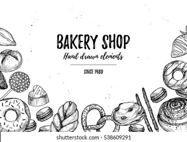 Hand drawn vector illustration - collection of goodies, sweets, buns and pastries. Background in sketch style for confectionery and bakery shops. Perfect for menu, cards, blogs, banners, flyers etc