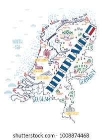 Hand drawn vector illustration. Colorful map of Netherlands with doodle icons.