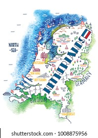 Hand drawn vector illustration. Colorful map of Nederlands with doodle icons and watercolor background