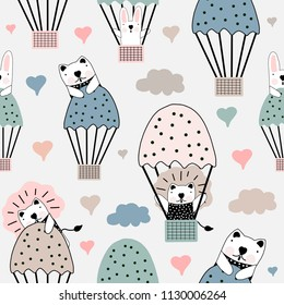 Hand drawn vector illustration colorful pastel  seamless pattern cute cartoon little animals, balloons, cloud and heart for baby apparel, cloth texture, textile or decoration