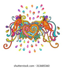 Hand drawn vector illustration of colorful doodle  winged heart.  Can be used for cards, invitations, fabrics, wallpapers, ornamental template for design and decoration, etc