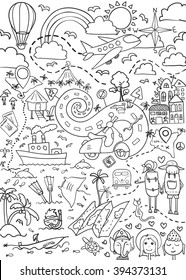 Hand drawn vector illustration for coloring book, of other design