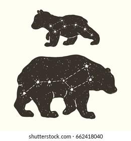Hand drawn vector illustration of the constellations Ursa Major and Ursa Minor