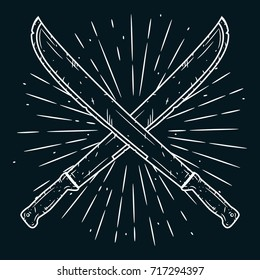 Hand drawn vector illustration with a crossed machetes and divergent rays on blackboard. Used for poster, banner, web, t-shirt print, bag print, badges, flyer, logo design and more. Cartoon machete.