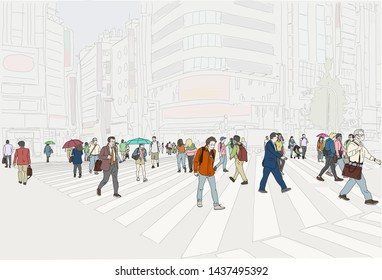 Hand drawn vector illustration. A crowd of people crossing the street in Tokyo Japan.