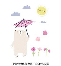 Hand drawn vector illustration of a cute funny bear with a parasol, going for a walk on a sunny day. Isolated objects on white background. Scandinavian style design. Concept apparel, nursery print.