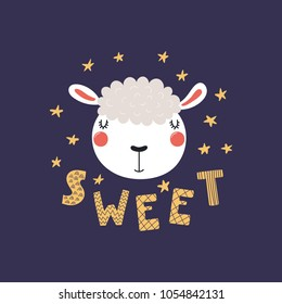 Hand drawn vector illustration of a cute funny lamb face, with stars, lettering quote Sweet. Isolated objects. Scandinavian style flat design. Concept for children print.