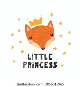 Hand drawn vector illustration of a cute funny fox face in a crown, with lettering quote Little princess. Isolated objects. Scandinavian style flat design. Concept for children print.