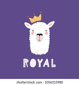 Hand drawn vector illustration of a cute funny llama face in a crown, with lettering quote Royal. Isolated objects. Scandinavian style flat design. Concept for children print.