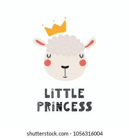 Hand drawn vector illustration of a cute funny sheep face in a crown, with lettering quote Little princess. Isolated objects. Scandinavian style flat design. Concept for children print.