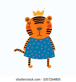 Hand drawn vector illustration of a cute funny tiger girl in a dress and crown. Isolated objects. Scandinavian style flat design. Concept for children print.