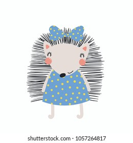 Hand drawn vector illustration of a cute funny hedgehog girl in a dress, with a ribbon. Isolated objects. Scandinavian style flat design. Concept for children print.