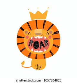 Hand drawn vector illustration of a cute funny lion in a crown, with lettering quote Roar. Isolated objects. Scandinavian style flat design. Concept for children print.