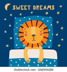 Hand drawn vector illustration of a cute funny sleeping lion, with pillow, blanket, lettering quote Sweet dreams. Isolated objects. Scandinavian style flat design. Concept for children print.