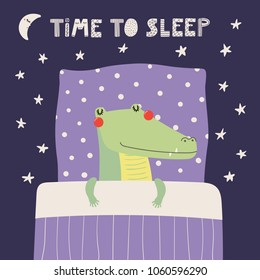 Hand drawn vector illustration of a cute funny sleeping crocodile, with pillow, blanket, lettering quote Time to sleep. Isolated objects. Scandinavian style flat design. Concept for children print.