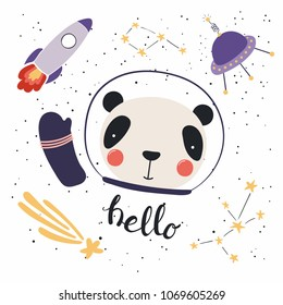 Hand drawn vector illustration of a cute funny panda in space, with rocket, ufo, comet, constellations, lettering quote Hello. Isolated objects. Scandinavian style flat design. Concept children print.