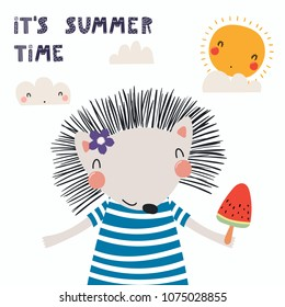 Hand drawn vector illustration of a cute funny hedgehog in a striped shirt, with ice cream, lettering quote Its summer time. Isolated objects. Scandinavian style flat design. Concept for kids print.