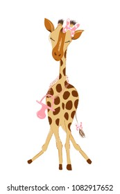 Hand drawn vector illustration with a cute giraffe female baby girl celebrating new birth - isolated on white background