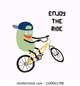 Hand drawn vector illustration of a cute funny monster in a snapback cap doing a stunt on a BMX bicycle, with quote Enjoy the ride. Isolated objects on white background. Concept for children print.