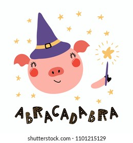 Hand drawn vector illustration of a cute funny pig in a witch hat, holding magic wand, with lettering quote Abracadabra. Isolated objects. Scandinavian style flat design. Concept for children print.
