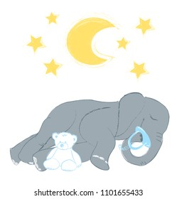 Hand drawn vector illustration with a cute baby elephant sleeping celebrating new birth - isolated on white background