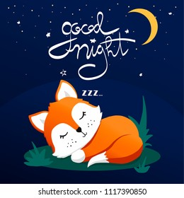 Hand drawn vector illustration of a cute funny sleeping fox, lettering quote Good night. Isolated objects. Concept children print.