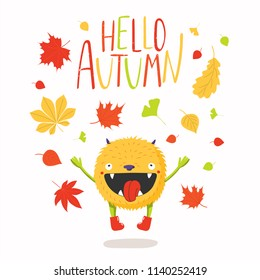 Hand drawn vector illustration of a cute little monster, falling leaves, with quote Hello Autumn. Isolated objects on white background. Flat style design. Concept for change of seasons, children print