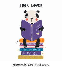 Hand drawn vector illustration of a cute funny panda reading a book, with quote Book lover. Isolated objects on white background. Scandinavian style flat design. Concept for children print.