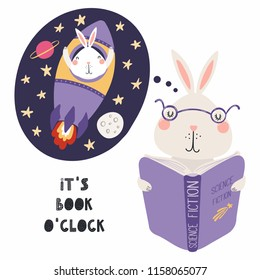 Hand drawn vector illustration of a cute funny bunny reading a book, with quote Its book oclock. Isolated objects on white background. Scandinavian style flat design. Concept for children print.