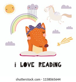 Hand drawn vector illustration of a cute funny fox reading a book, with quote I love reading. Isolated objects on white background. Scandinavian style flat design. Concept for children print.