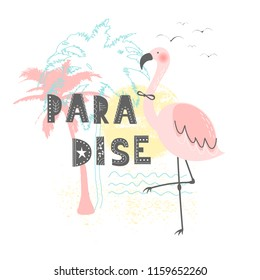 9ff51c35e192 Hand drawn vector illustration of a cute funny pink flamingo with lettering quote  Paradise. Isolated