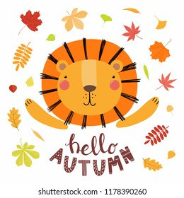 Hand drawn vector illustration of a cute lion, with colorful falling leaves, quote Hello autumn. Isolated objects on white. Scandinavian style flat design. Concept for children print.