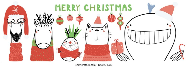 Hand drawn vector illustration of a cute funny flamingo, unicorn, pineapple, cat, whale, text Merry Christmas. Isolated objects on white. Line drawing. Design concept for Christmas card, invite.