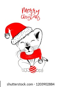 Hand drawn vector illustration with a cute baby lion celebrating Merry Christmas - isolated on white background for print cards and web banner
