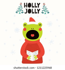 Hand drawn vector illustration of a cute frog in a Santa hat, sweater, singing carols, with text Holly Jolly. Isolated objects on white. Scandinavian style flat design. Concept Christmas card, invite.