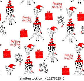 Hand drawn vector illustration with a cute baby giraffe celebrating celebrating a Merry Christmas - seamless pattern with isolated on white background
