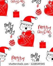 Hand drawn vector illustration with a cute baby cat celebrating celebrating a Merry Christmas - seamless pattern with isolated on white background