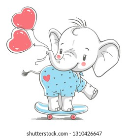 Hand drawn vector illustration of a cute baby elephant with balloons on a skateboard.