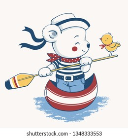 Hand drawn vector illustration of a cute baby bear steering a gondola.