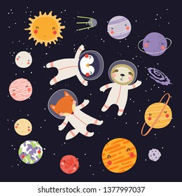 Hand drawn vector illustration of cute animal astronauts in space, among the plaents of solar system. Isolated objects on dark background. Scandinavian style flat design. Concept for children print.