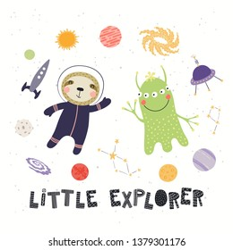 Hand drawn vector illustration of a cute sloth astronaut, alien, in space, with quote Little explorer. Isolated objects on white background. Scandinavian style flat design. Concept for children print.