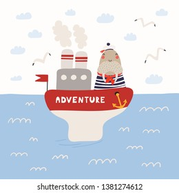 Hand drawn vector illustration of a cute walrus sailor on a ship, in the open sea, with seagulls, clouds. Scandinavian style flat design. Concept for children print.